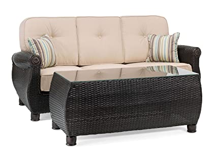 Merveilleux La Z Boy Outdoor Breckenridge Resin Wicker Patio Furniture Sofa With  Pillows And Coffee