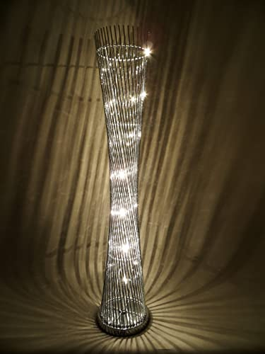 Diablo twisted tower floor lamp with silver wirealuminium stems diablo twisted tower floor lamp with silver wirealuminium stems with led bulbs greentooth Gallery