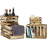 Relaxdays Caisse en bois vintage lot de 4 look shabby cagette de fruits caisse de vin décoration