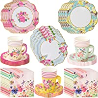 Talking Tables Vintage Tea Party Supplies | Floral Paper Party Plates, Napkins, Tea Cups and Saucer Sets | Great for Tea…