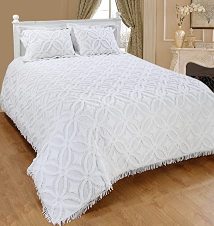 Saral Home Fashions Grace Chenille Bedspread With Sham King White Bedspread 118x118 Inches Sham 26x20 2 Inches