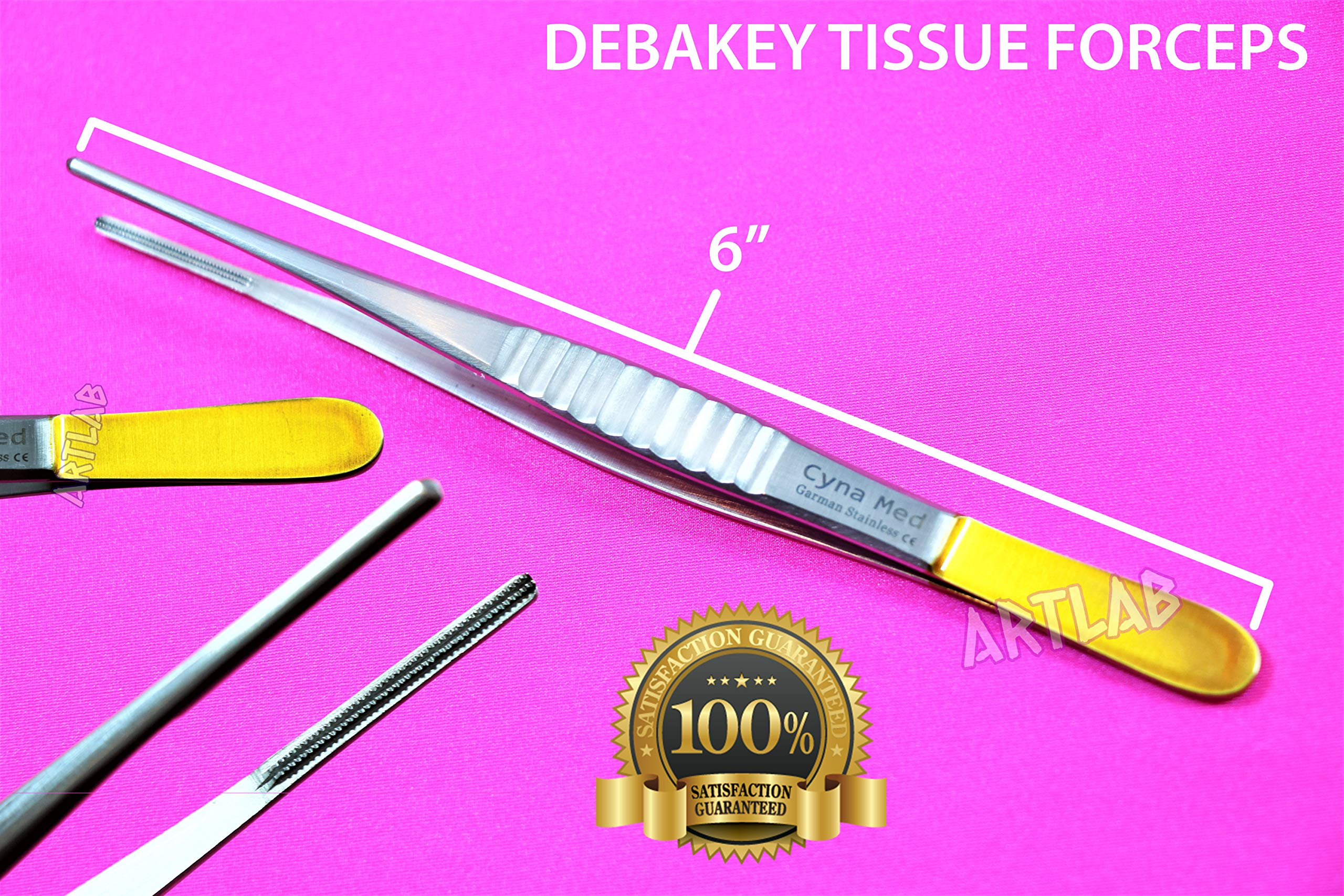 1 New! German DEBAKEY Forceps Vascular Tissue Forceps with Gold Handle Tips 6'' HIGH Grade (CYNAMED) by CYNAMED