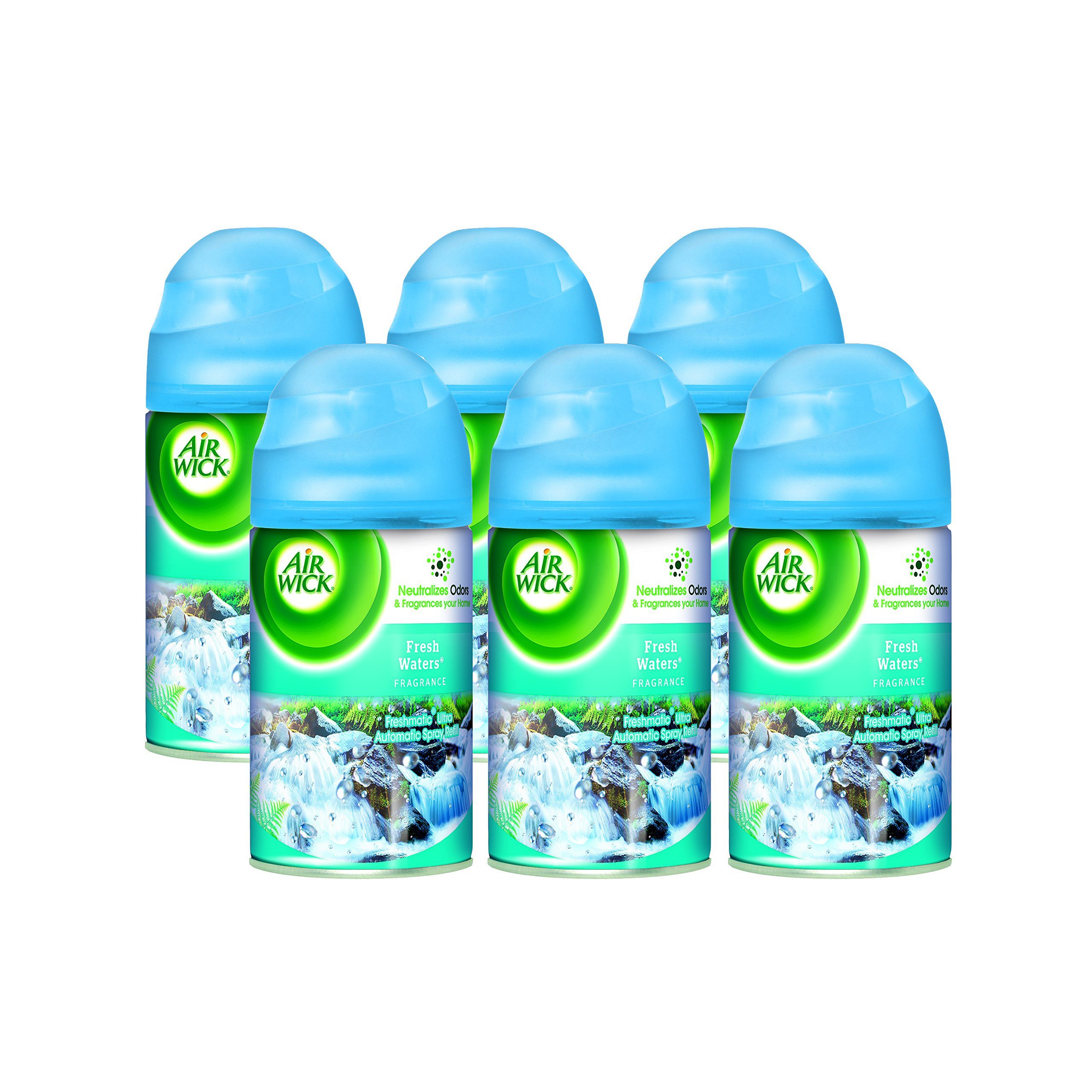 Air Wick Freshmatic Ultra Spray Refill, Fresh Waters, Aerosol, 6.17 oz. (Pack of 6)