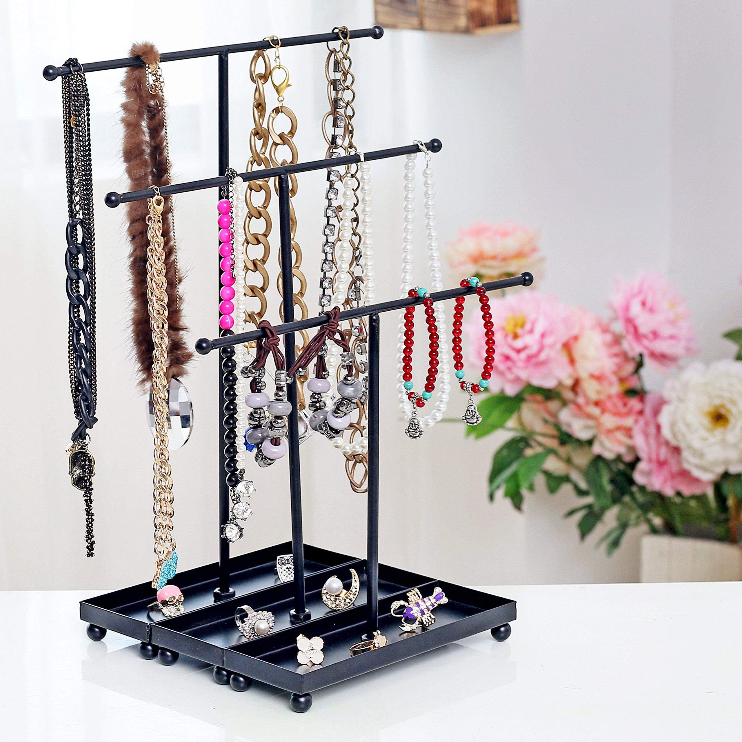 Set of 3 Modern Jewelry Organizers, Tabletop Bracelet & Necklace Hangers w/ Ring Dish, Black by MyGift (Image #3)