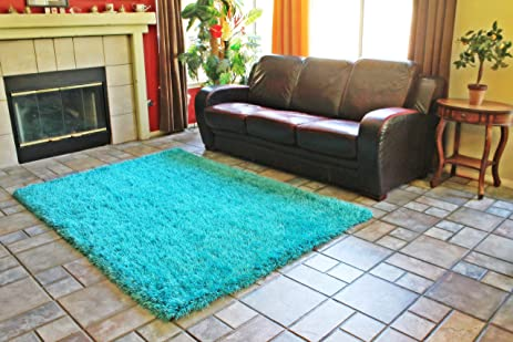Aqua Turquoise Shaggy Shag Area Rug 8x10 High End Designer Quality Flokati  High Pile Soft Iridescent