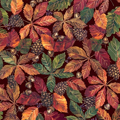FABRI-QUILT FALL RETREAT SMALL LEAVES  COTTON BTY