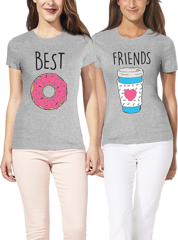 VIVAMAKE® Pack 2 Camisetas de Mujer Originales para Mejores Amigas con Diseño Best Friends de Café y Donut: Amazon.es: Ropa y accesorios
