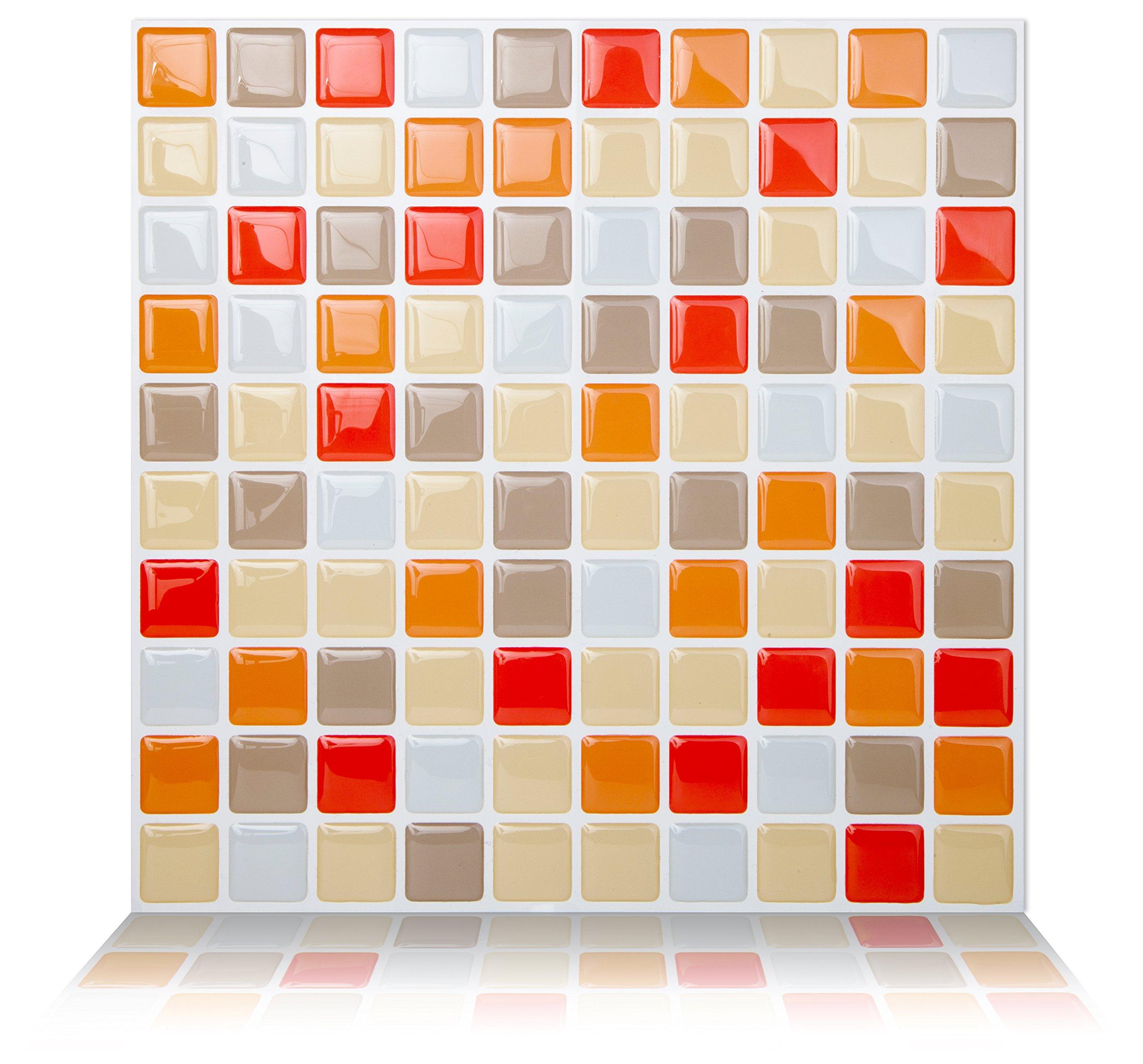 Tic Tac Tiles Peel and Stick Wall Tile in Mosaic Vanillaorange (10 tiles)