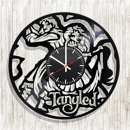 Reloj de pared, diseño de Enredados en el mundo de los discos de vinilo,