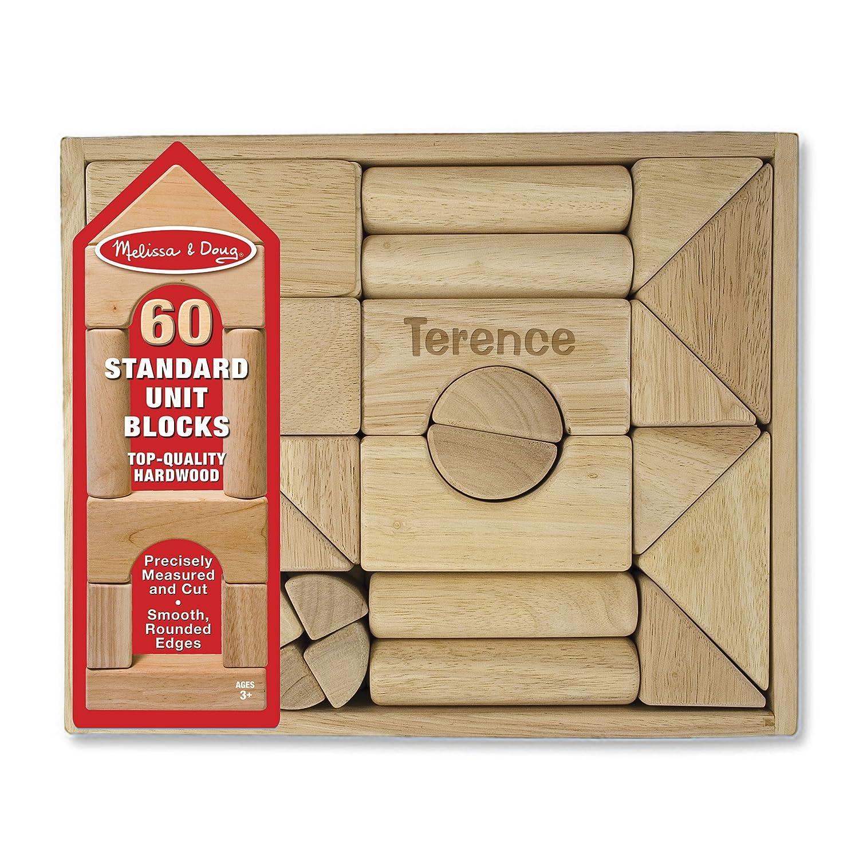 Melissa & Doug Personalized Standard Unit Solid Wood Building Blocks Toy (60 Pieces)