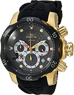 Invicta Mens Disney Limited Edition Quartz Watch with Silicone Strap, Black, 32 (Model