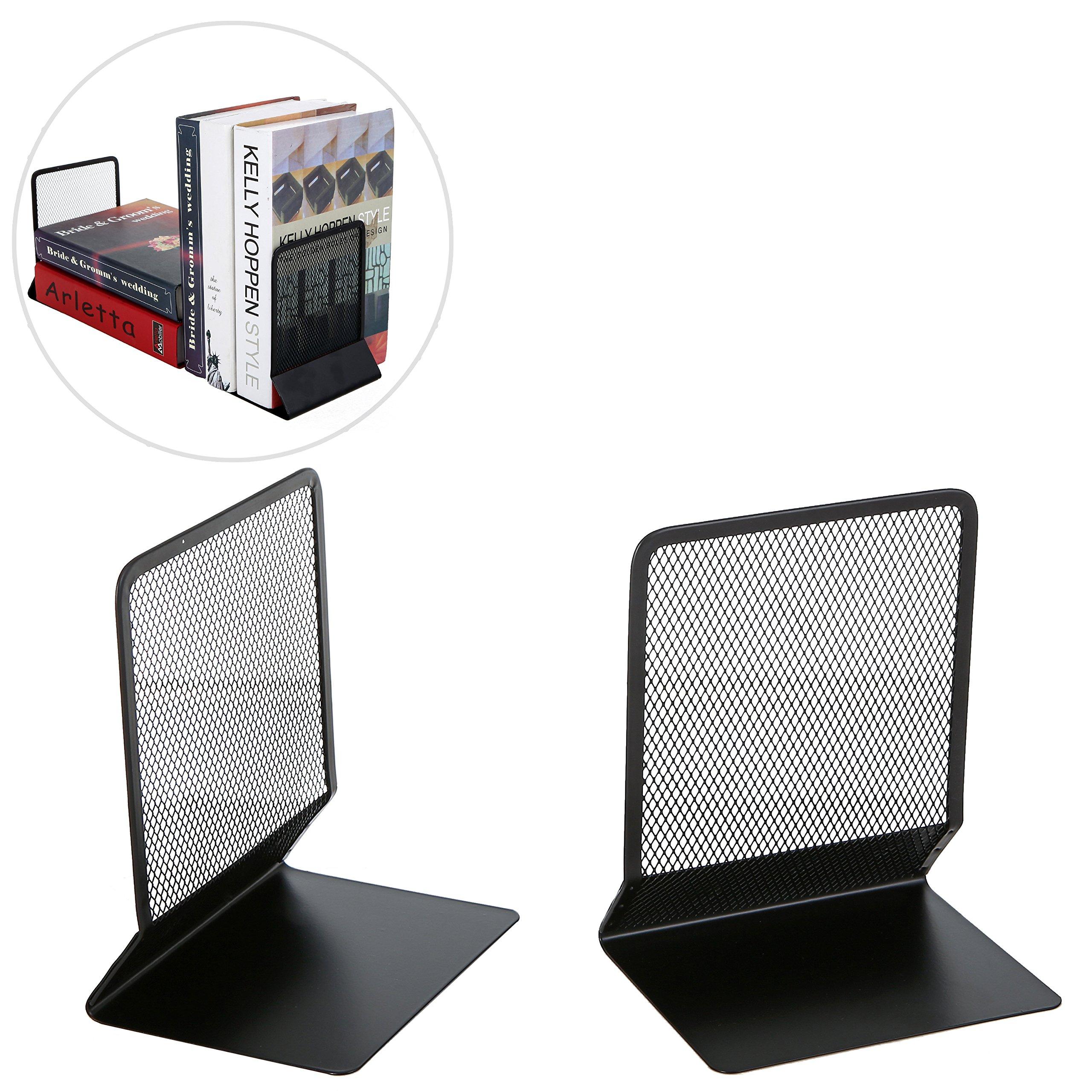 MyGift Modern Metal Mesh Bookends, 2 Piece Desktop Book Holder Rack Set, Black