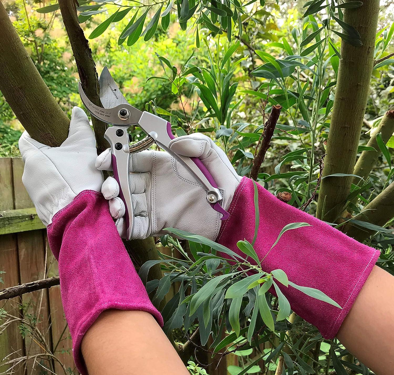Guantes y Tijeras de podar a Prueba de espinillas Guantes de jardiner/ía para Mujer Petal Power Guantes de jard/ín de Cuero y Tijeras de podar duraderas y Ligeras Manga Larga jard/ín para Mujeres