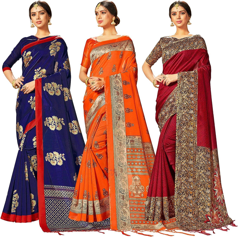 Pack of Three Sarees for Women Mysore Art Silk Printed Indian Wedding Saree | Diwali Gift Sari Combo