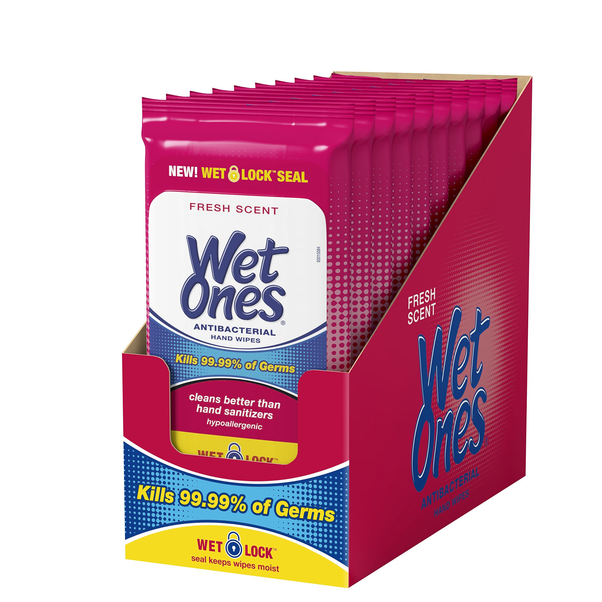 Wet Ones Antibacterial Hand Wipes, 20 Count (Pack Of 10) by Wet Ones