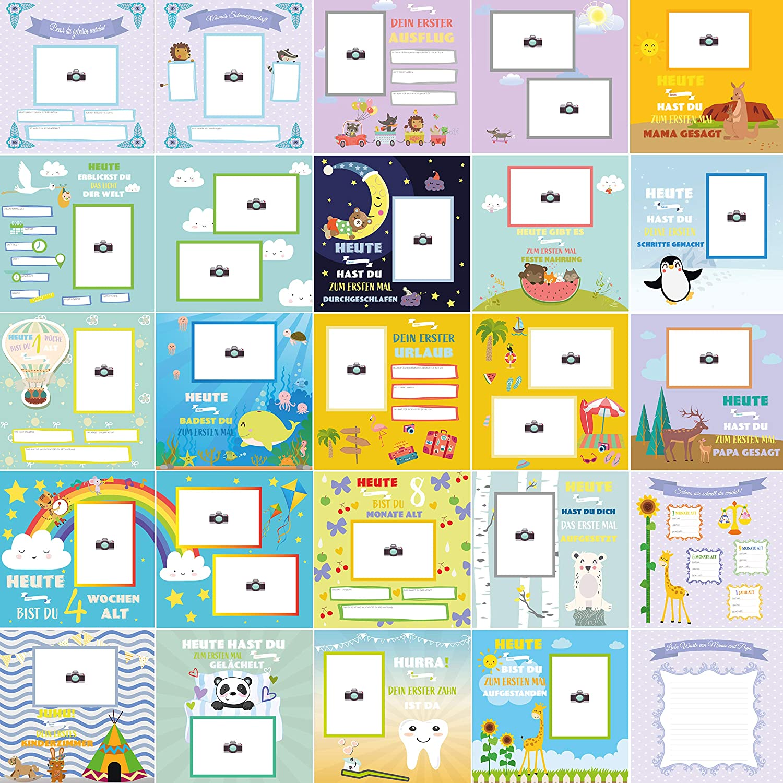 Babys erstes Jahr dein wundersch/önes Erinnerungsbuch zum einkleben Ideal als Geschenk zur Geburt Gold Album Mein erstes Jahr Babyalbum Fotoalbum Baby M/ädchen