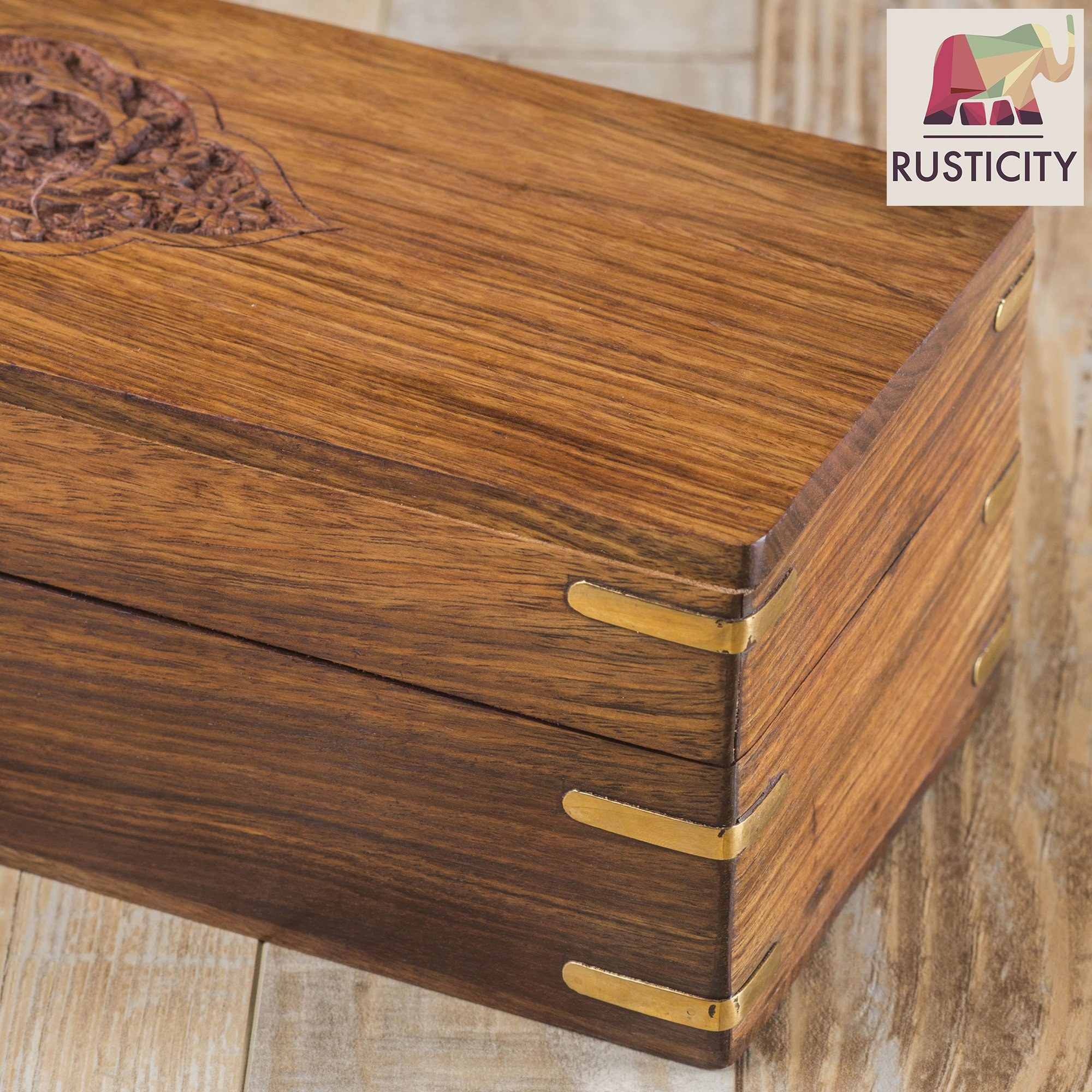 Rusticity Wooden Tea Box/Spice Organizer with Lid - 8 Slots | Handmade | (12x4.5 in) by Rusticity (Image #3)