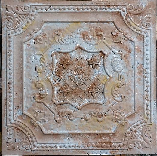 Pl04 Imitation Peinture Plafond Fancy Carreaux Marron Effet