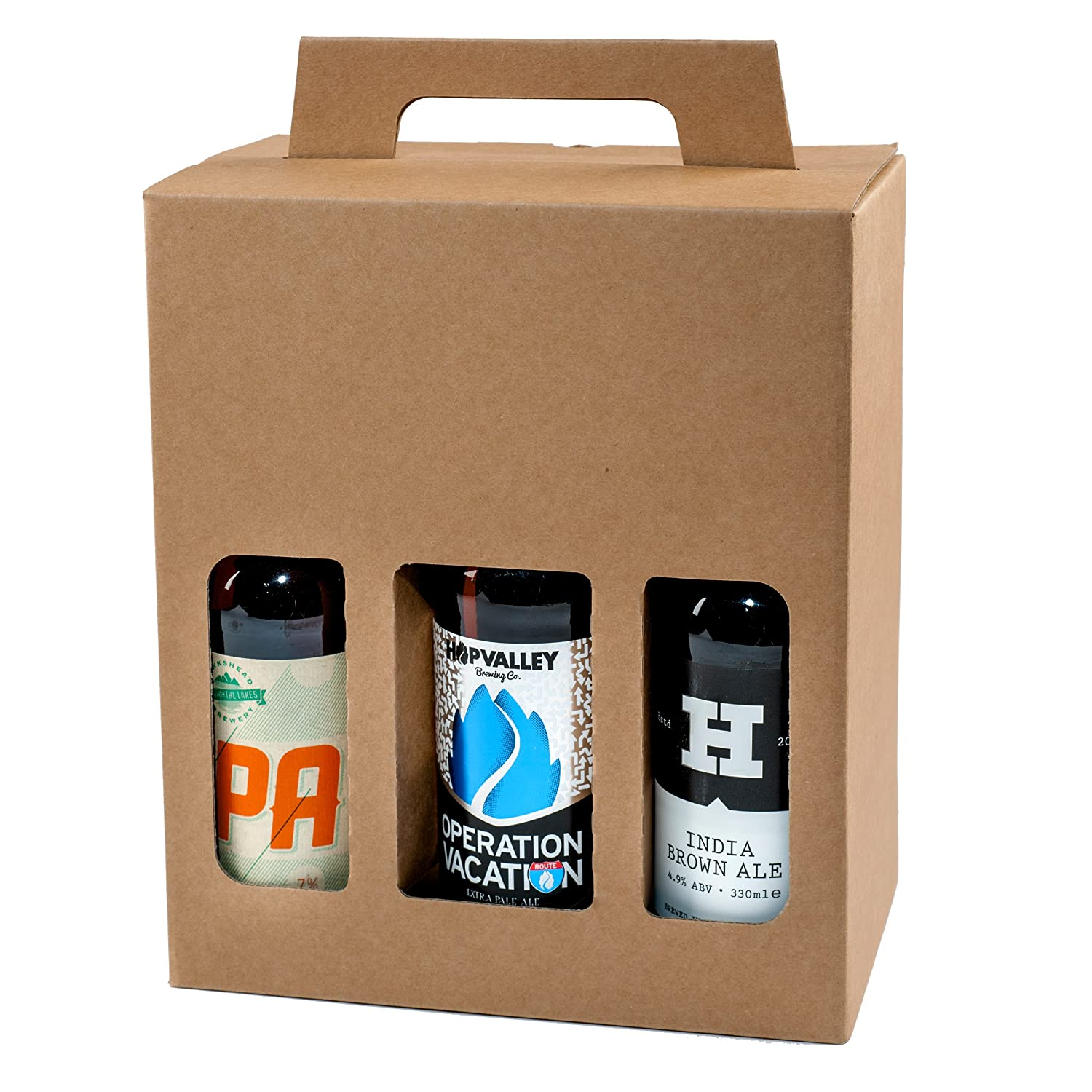 Cardboard Bottle Carriers for 6 x 330ml Beer and Cider Bottles - Strong Boxes - An Excellent Gift or Present Idea for Special Occasions - Great for Birthdays / Fathers Day / Christmas etc - Qty 10 x Boxes Drinks Packaging