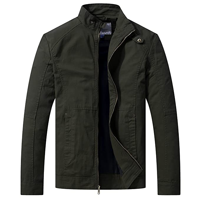 WenVen Mens Lightweight Casual Full Zip Military Jacket