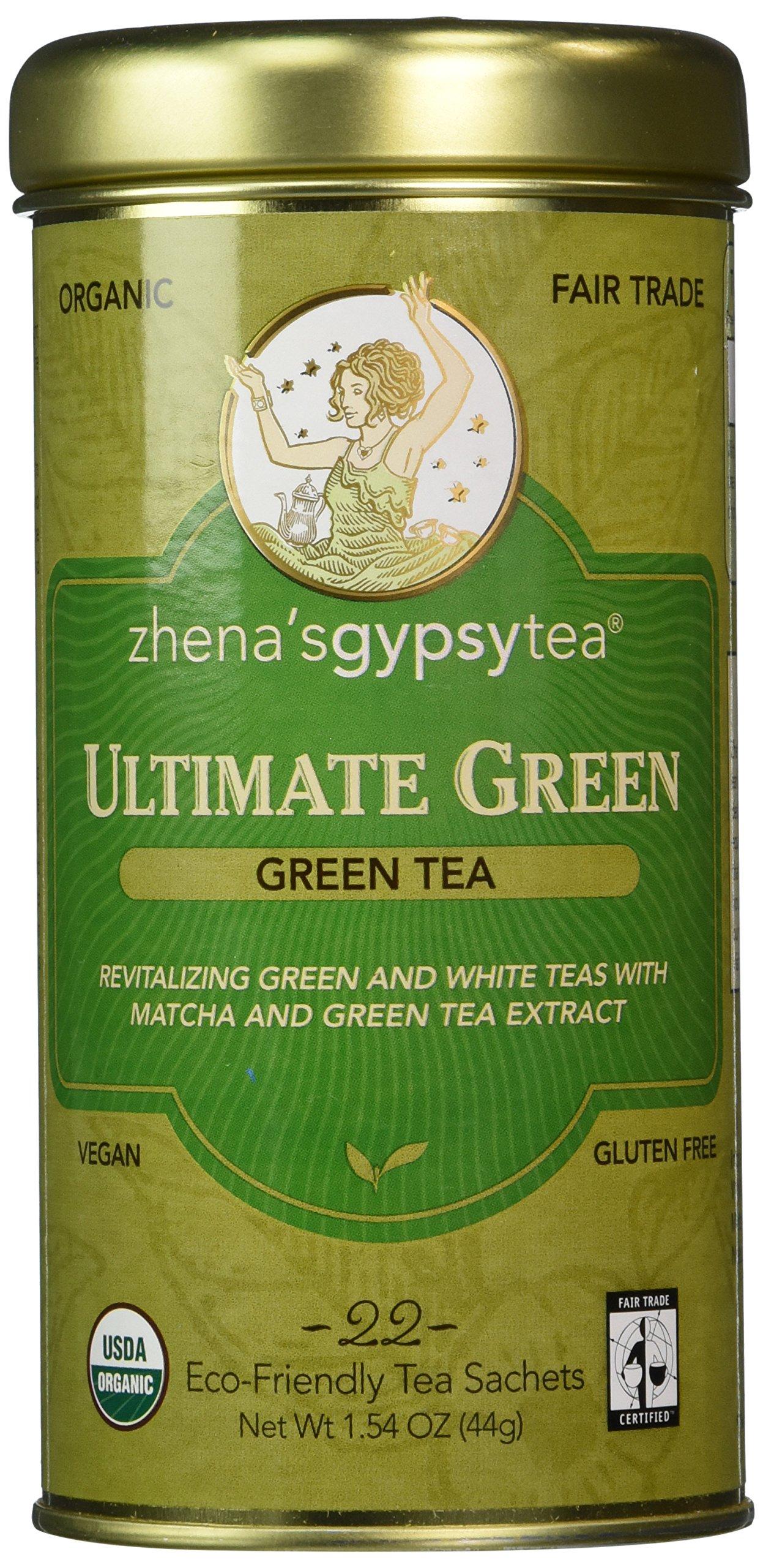 Zhena's Gypsy Tea, Ultimate Green, Green Tea, 22 Count Tea Sachet