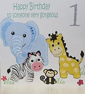 WHITE COTTON CARDS Happy Someone Very Gorgeous 1 Handmade 1st Birthday Card Safari Toys