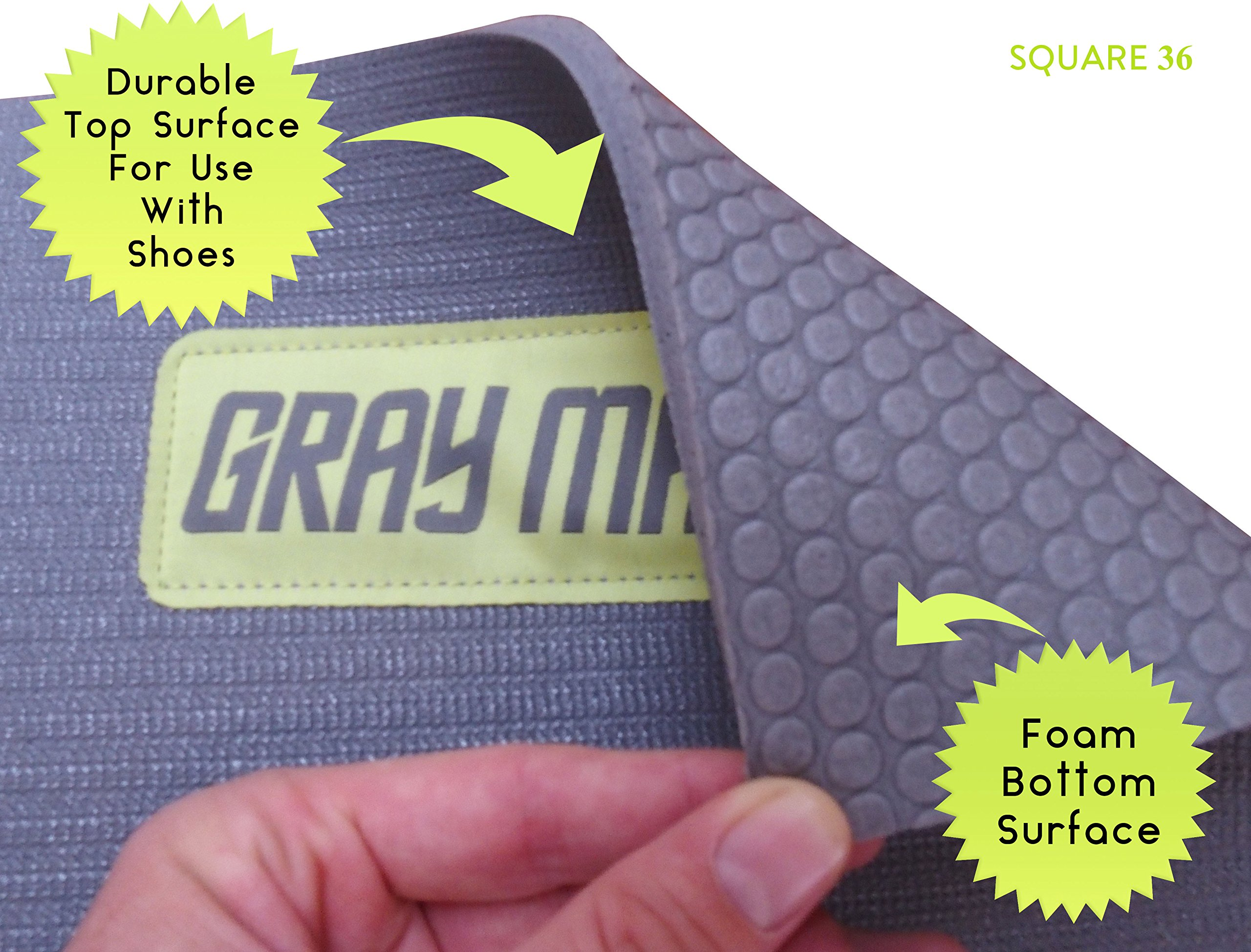 Large Exercise Mat For Cardio Workouts 72'' Long x 60'' Wide x 7mm Thick (6' x 5' x 7mm). For Home-Based Workouts With or Without SHOES. Comes With a Storage Bag & Storage Straps. by Square36 (Image #4)
