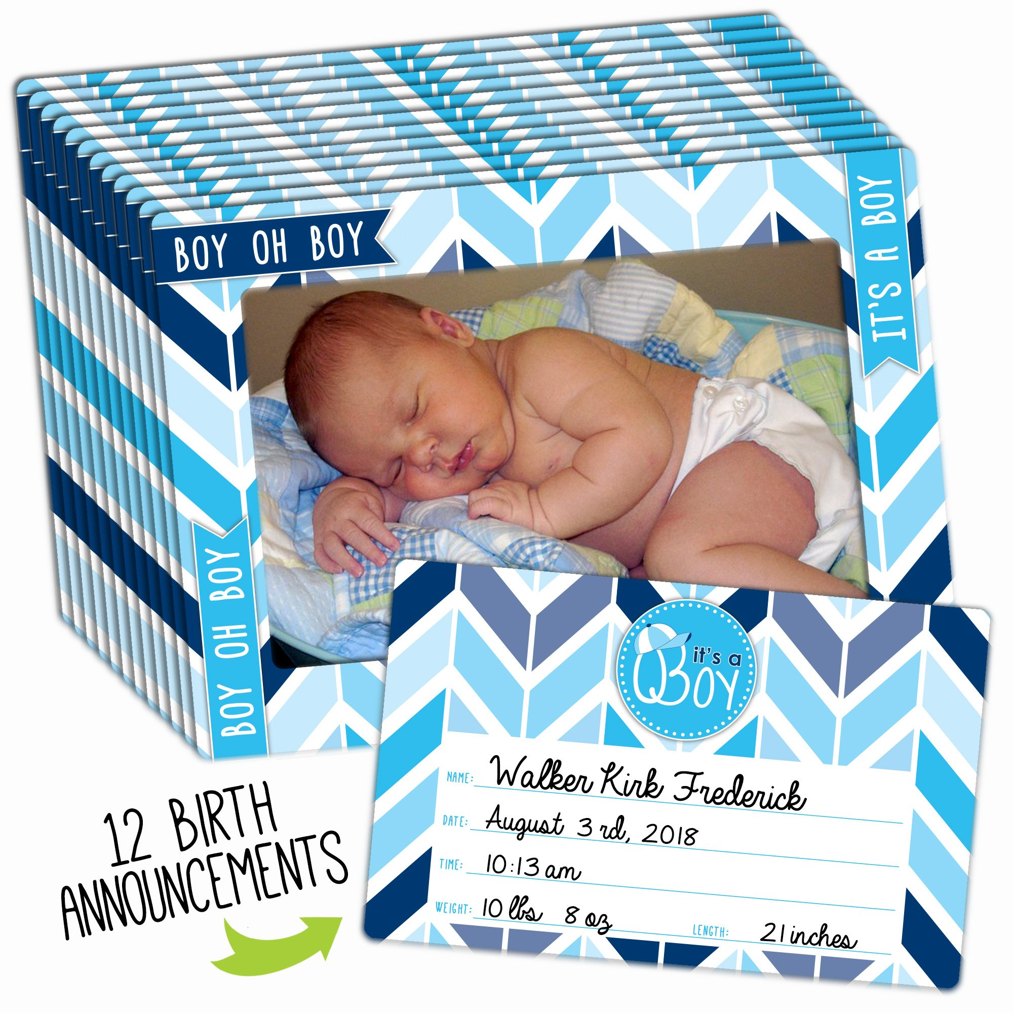 Birth Announcement 12-Pack for Baby Boy with Customizable Birth Announcement Magnet Keepsake and Magnetic Picture Frame That Fits Both 4x6 and 5x7 Inch Photos