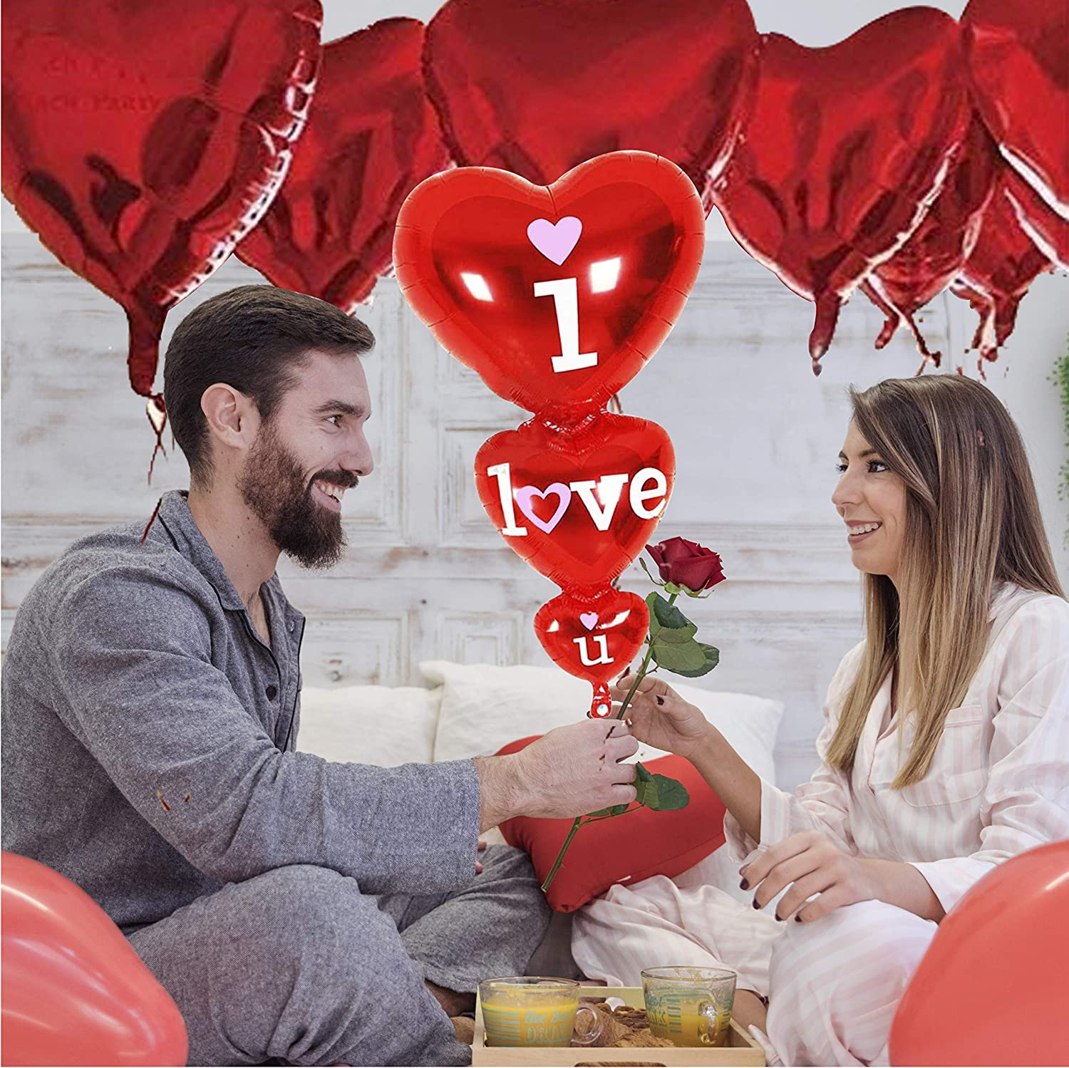 Wedding Flower Decoration 1pcs I Love U Balloon Valentine/'s Day Decorations for Party Heart Shaped Balloons 11pcs Heart Balloon 11+1