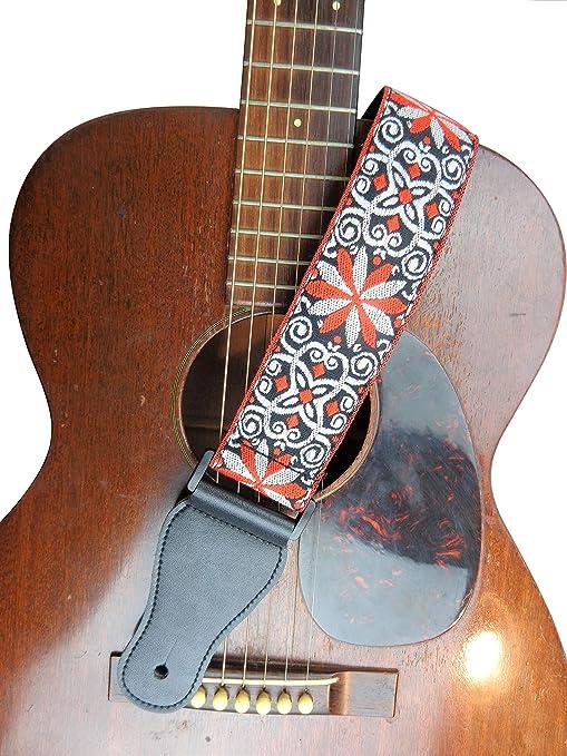 Correa para guitarra eléctrica acústica, color naranja, rojo ...