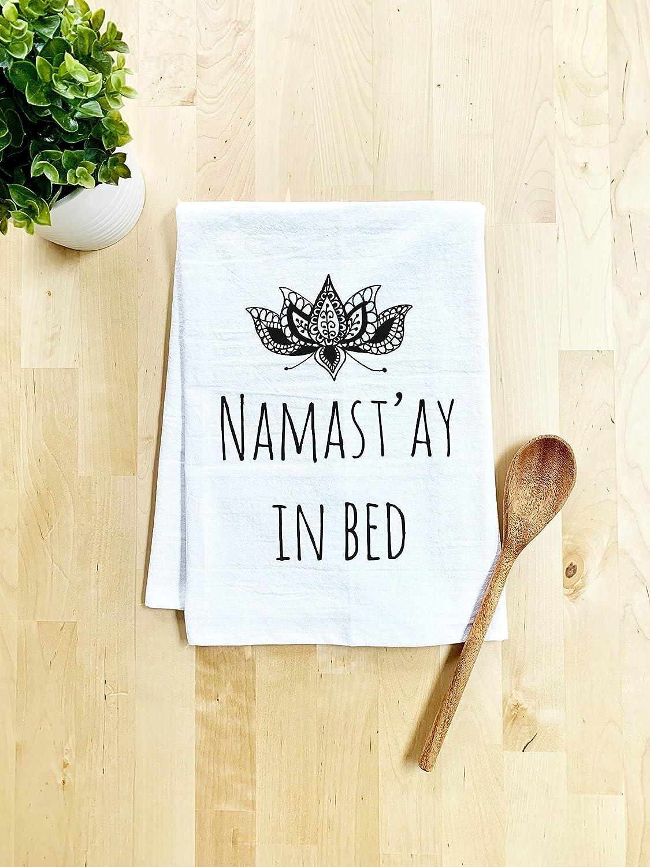 Funny Dish Towel, Namastay In Bed, Flour Sack Kitchen Towel, Sweet Housewarming Gift, Farmhouse Kitchen Decor, White