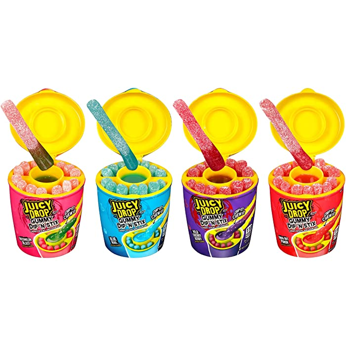 Juicy Drop Gummy Dip 'N Stix, Sweet Gummy Sticks w Sour Dipping Gel, 8 Pack - Fun Candy for Birthdays and Celebrations, 3.4 ounce (pack of 8)