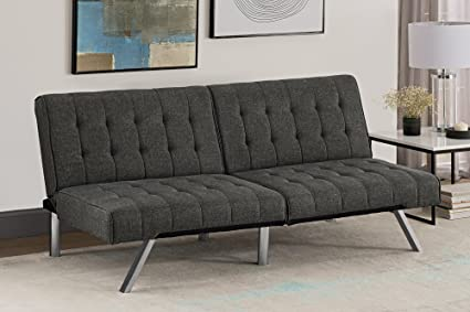 DHP Emily Futon Couch Bed Modern Sofa Design Includes Sturdy Chrome Legs and Rich Velvet & Amazon.com: DHP Emily Futon Couch Bed Modern Sofa Design Includes ...