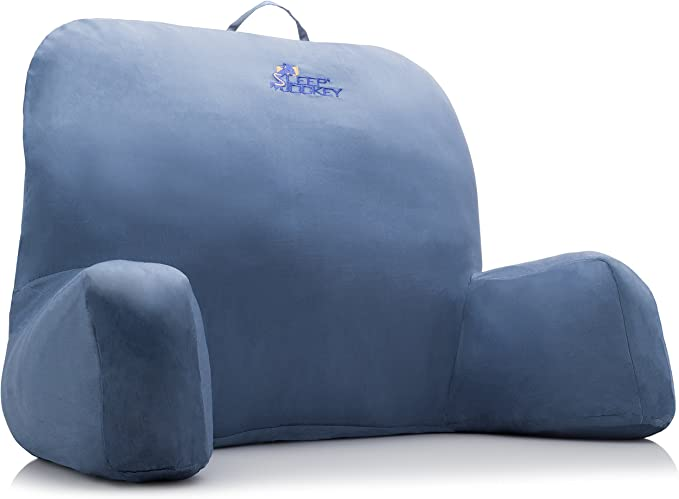 Bed Reading Pillow Premium Therapeutic Grade Bed Rest Support Pillow Super Soft Not Overstuffed Egyptian Cotton Ocean Mist Blue Home Kitchen