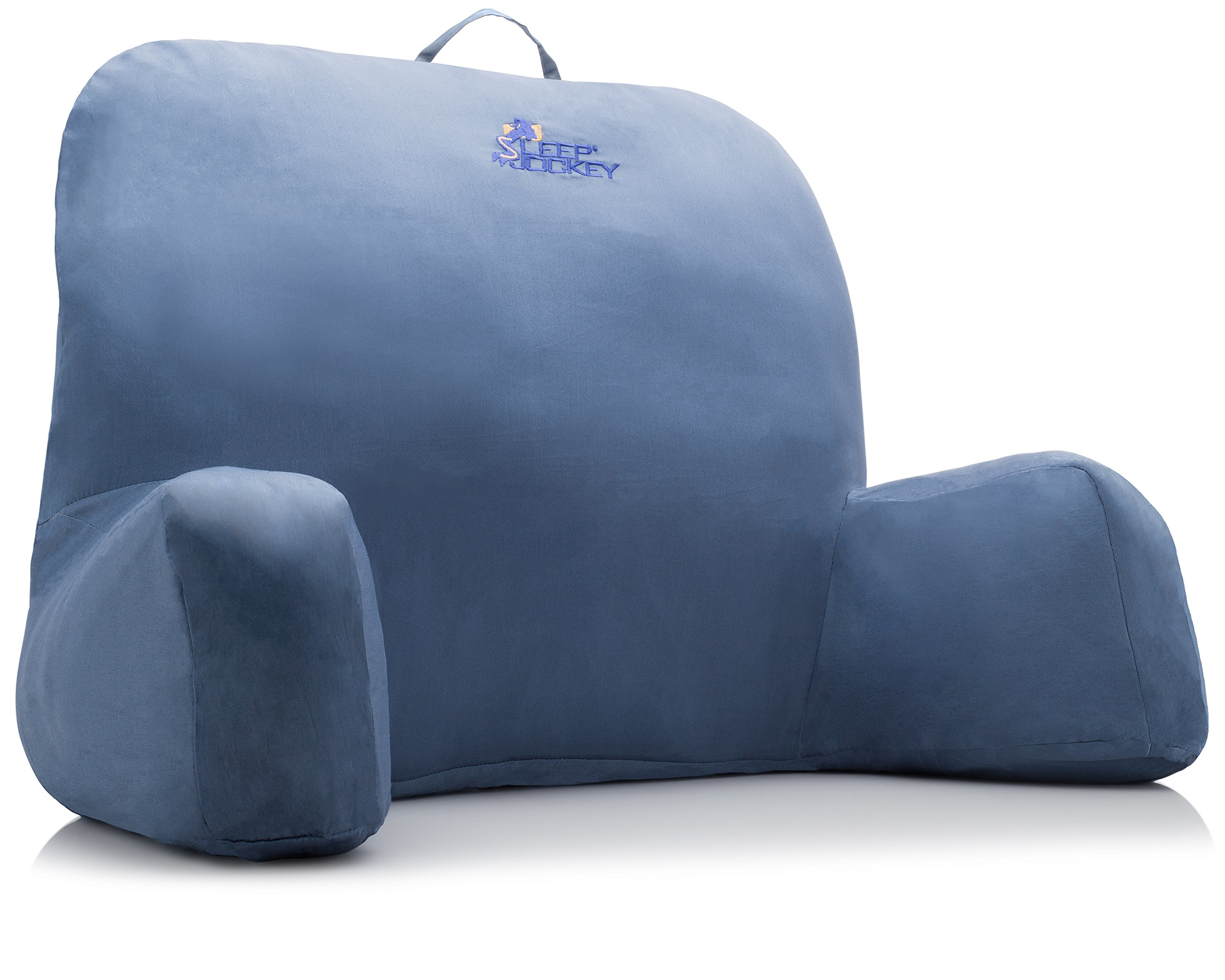 Bed Reading Pillow - Premium Therapeutic Grade Bed Rest & Support Pillow - Super Soft (Not Overstuffed) Egyptian Cotton (Blue)