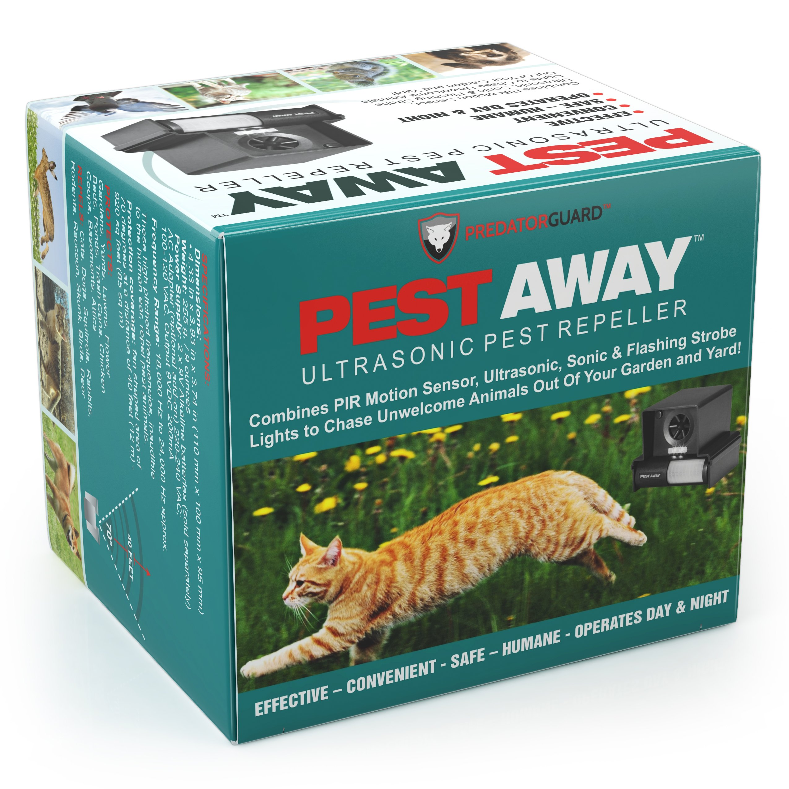 PREDATORGUARD PestAway Ultrasonic Outdoor Animal & Cat Repeller with Motion Sensor Stops Pest Animals Destroying Your Gardens & Yard by PREDATORGUARD (Image #1)