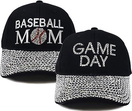 b697c54db Funky Junque Women's Baseball Cap Silver Rhinestone Bill Sports Mom Bling  Hat