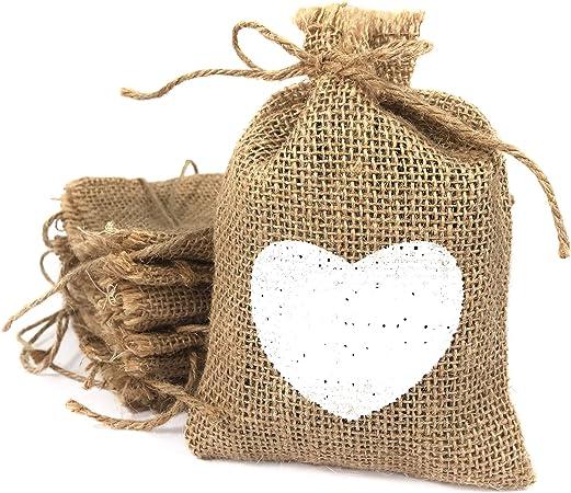 Bolsas de tela de arpillera pequeñas con corazón blanco impreso ...