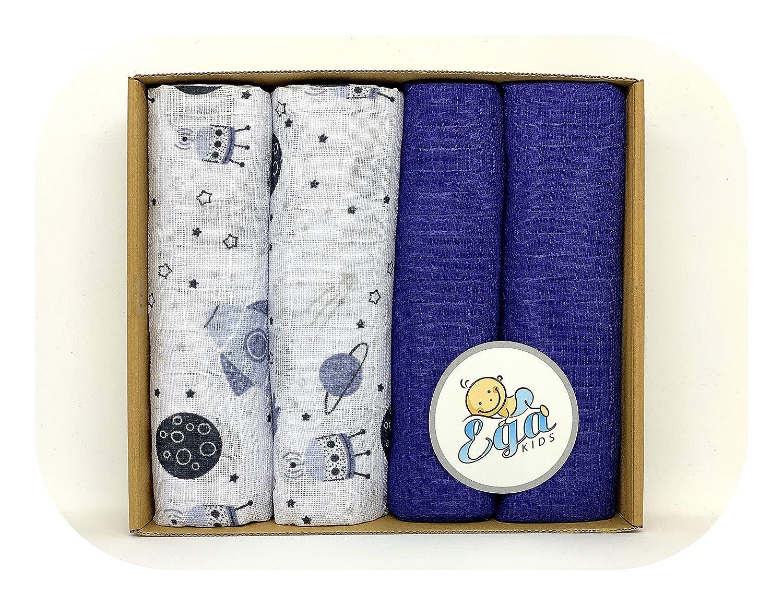 Family-Kollektion 4er Pack Mullwindeln bunt I hautfreundliches /& angenehm weiches Schmuse-Tuch I Spuckt/ücher Baby aus 100/% Baumwolle I 4 St/ück Baumwoll-T/ücher 60 x 80 cm Set 2