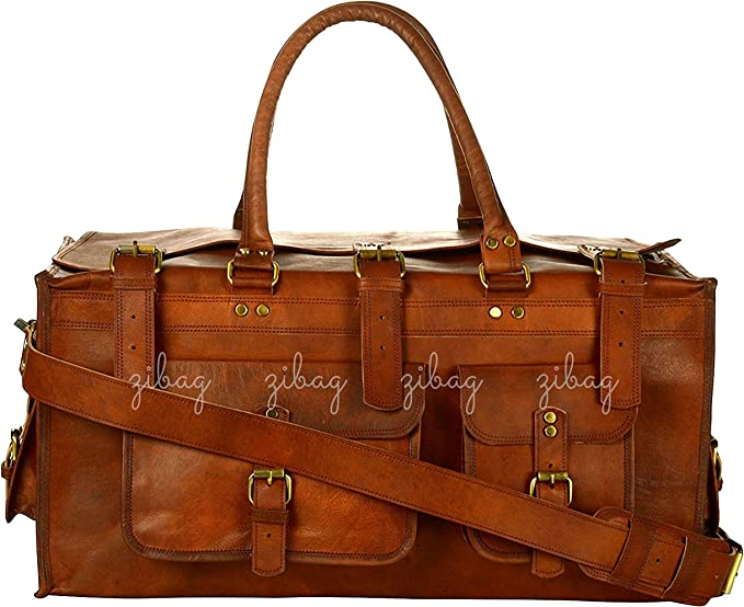 Bag Mens New Large Vintage Genuine Leather Duffel Carry On Weekender Travel Bag