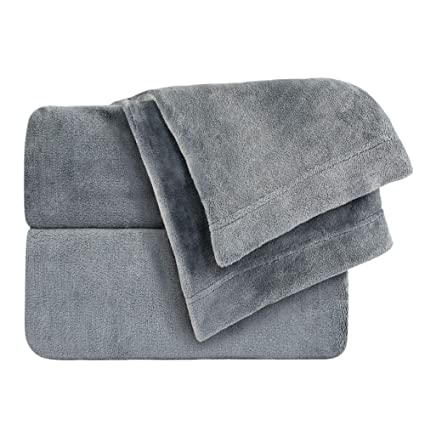 Cozy Fleece Comfort Collection Velvet Plush Sheet Set, Twin, Gray, 1 Sheet Set best twin-sized fleece sheet sets