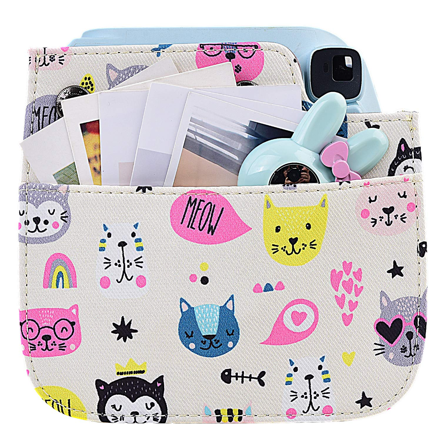 Kitty Instant Film Camera with Accessory Pocket and Adjustable Strap Protective Case for Fujifilm Instax Mini 9 8 8