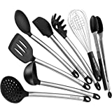 Kitchen Utensils - 8 Piece Cooking Utensil Set -Made Of Nonstick Silicone and Stainless Steel -Includes Spoon, Egg Whisk, Serving Tong, Spatula Tools, Pasta Server, Ladle, Strainer