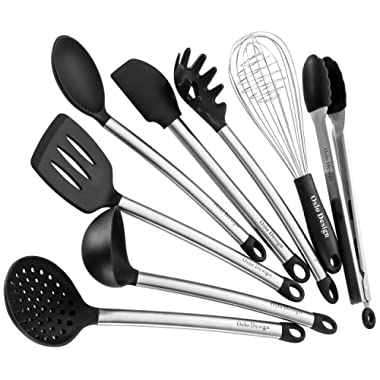 Kitchen Utensil set - 8 Piece Cooking Utensils for nonstick cookware -Made Of Silicone and Stainless Steel -best kiInchen utensils Gift for mom