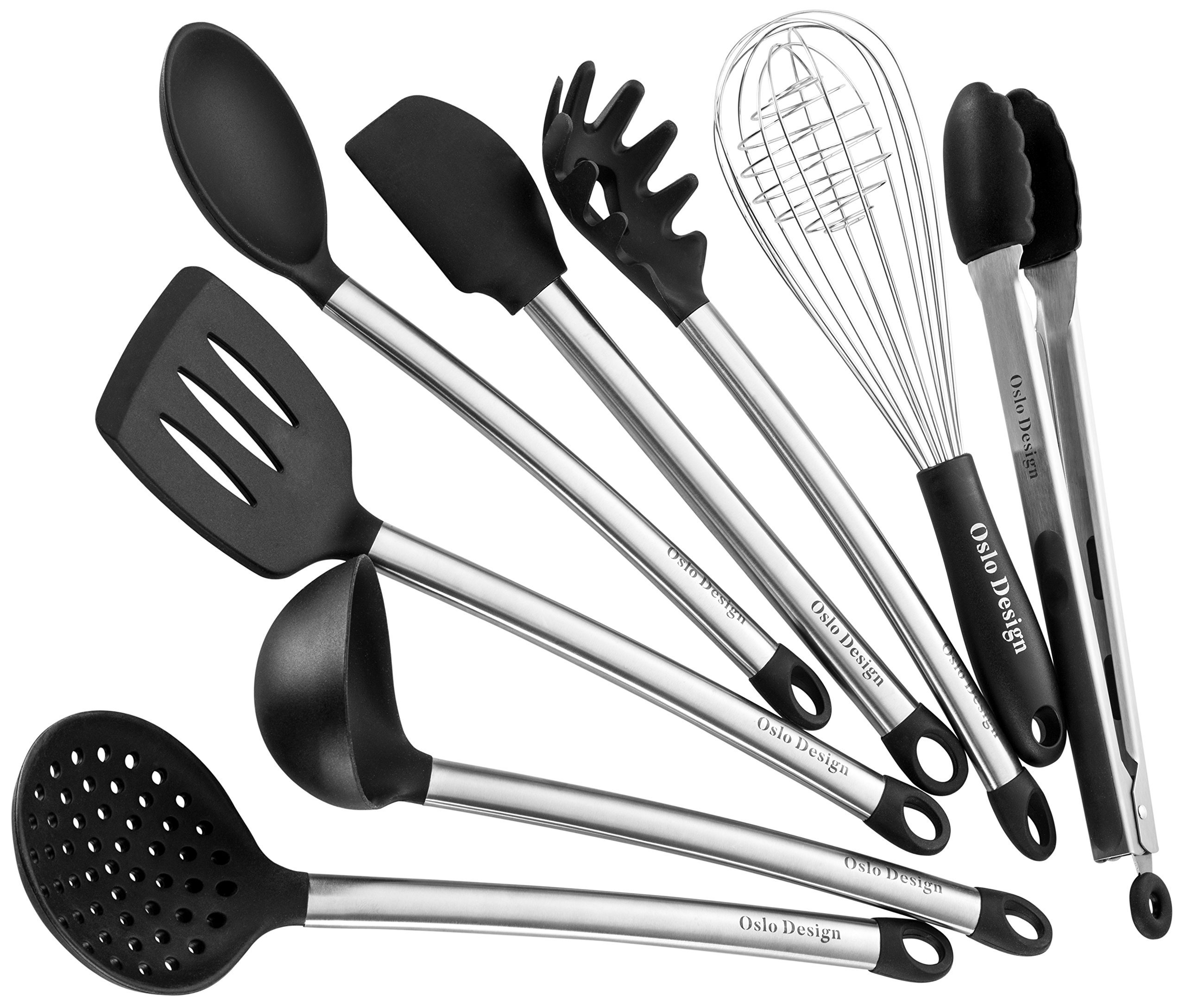 Kitchen Utensil set - 8 Piece Cooking Utensils for nonstick cookware -Made Of Silicone and Stainless Steel -Includes Spoon, Egg Whisk, Serving Tong, Spatula Tools, Pasta Server, Ladle, Strainer by Oslo Design (Image #1)