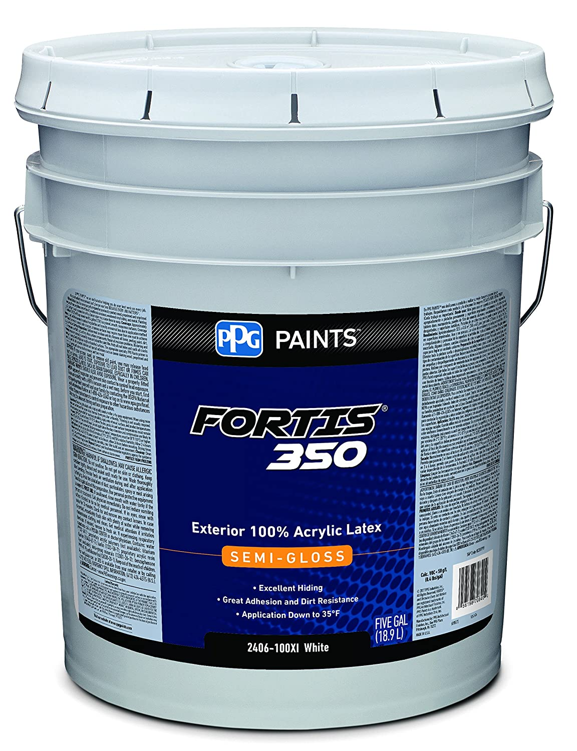 2406 100XI 05 Acrylic Paint Semi Gloss 5 gal Fortis 350 Exterior Paint White
