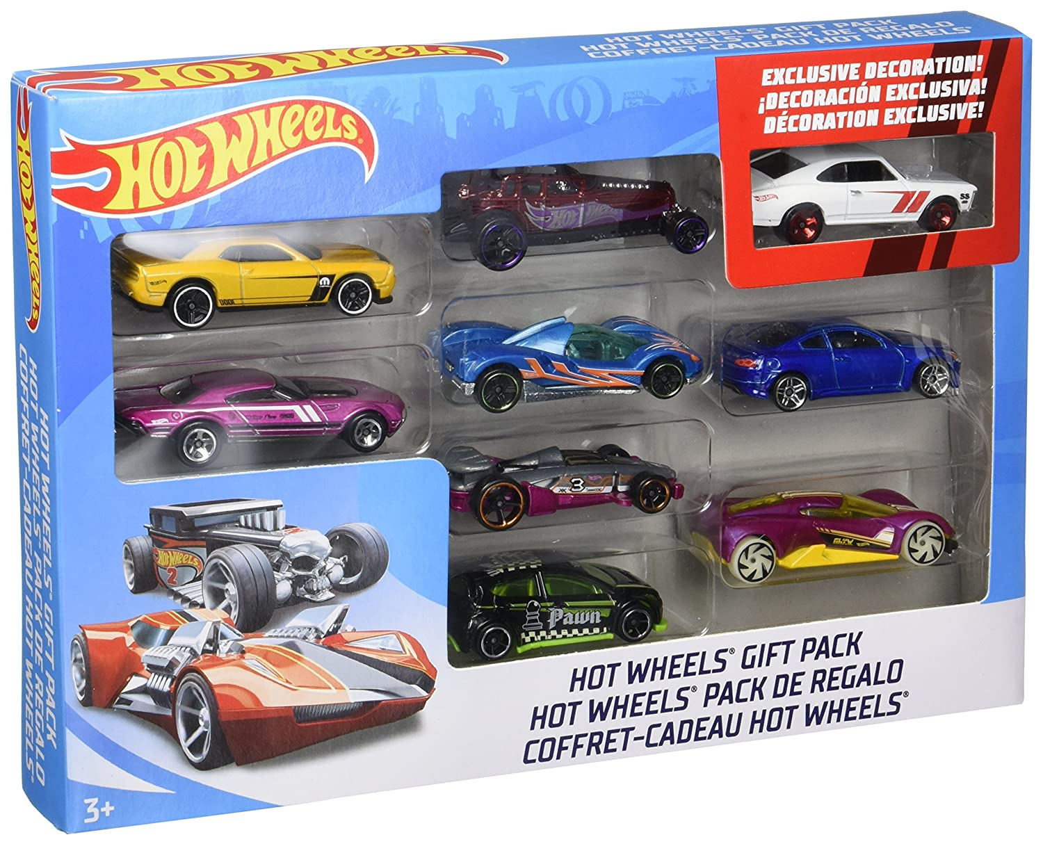 image of assorted Hot Wheel mini trucks in a box