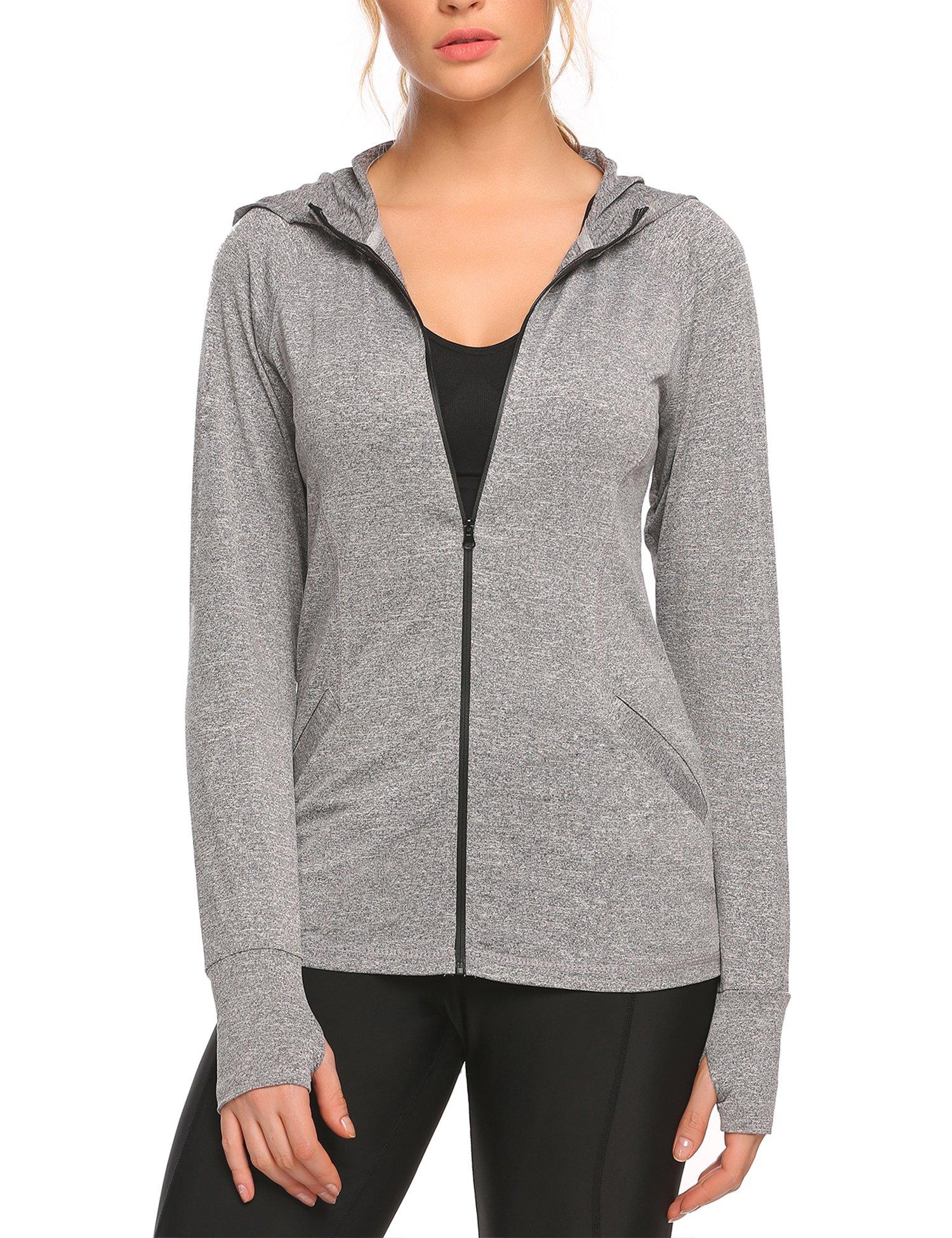 Women's Running Sports Jackets Full-zip Hoodie Coat with Thumb Hole, Dark Grey, Small