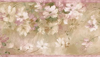 White Pink Flowers Floral Vintage Wallpaper Border Paint By