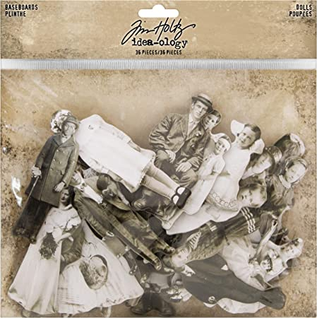 Tim Holtz art journaling Vintage chipboard portrait die cuts for collage mixed media projects altered art Ideaology Baseboards Dolls